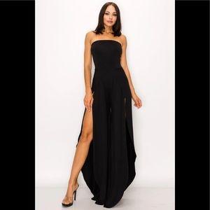 Bella Valentina Black Strapless High Slit Jumpsuit